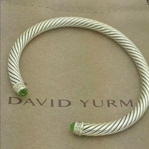 David Yurman Sterling Peridot Cable Bracelet